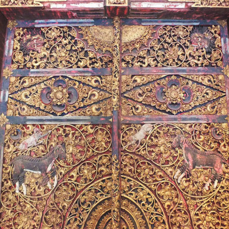 Balinese Te,ple double door in teak wood with floral carvings and gold decoration