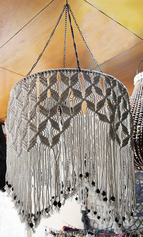 crochet woven cotton suspension lamp hood