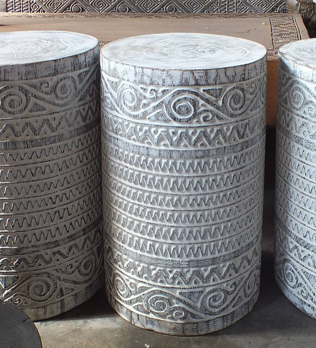 cylinder white wash wood decoration
