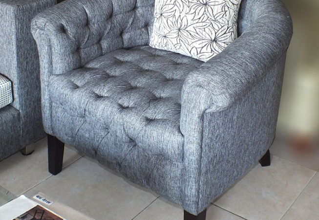 Cotton chesterfield armchair
