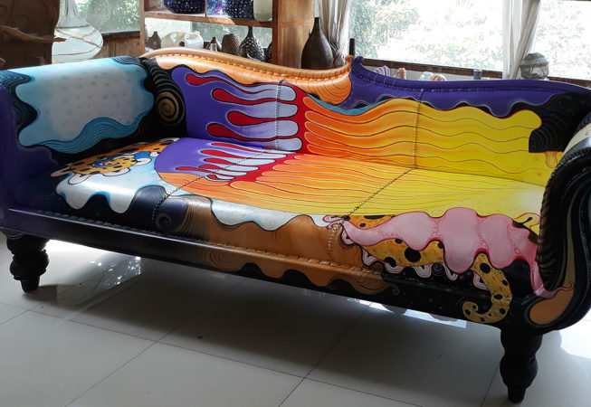 artistic leather sofa hand painted