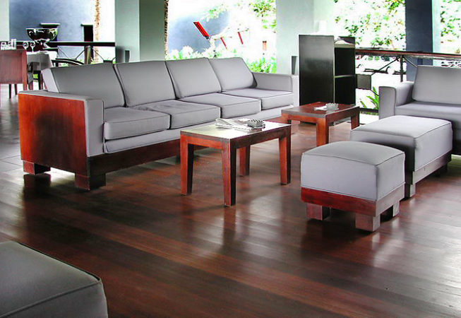 Mahagony wood and cotton 4 seat sofa and puff with teak wood coffee table