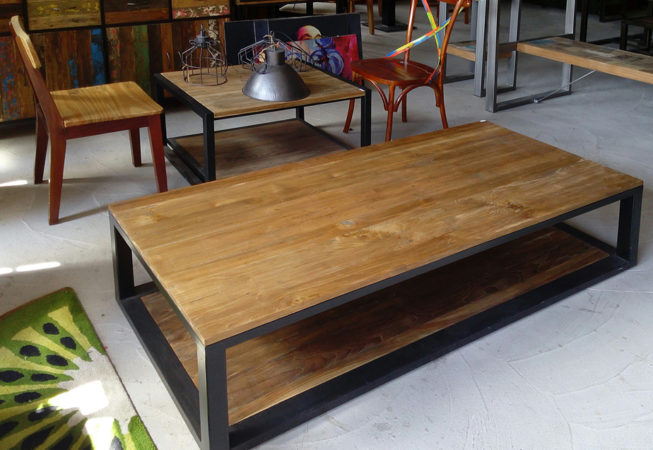 Teak and iron double tray coffee table