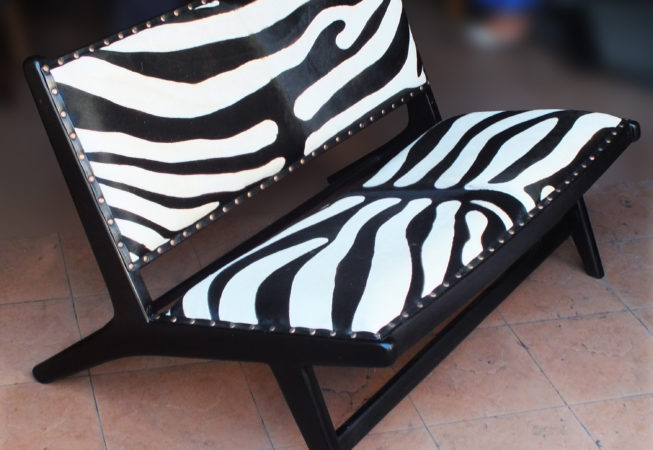 wood and leather zebra print bench
