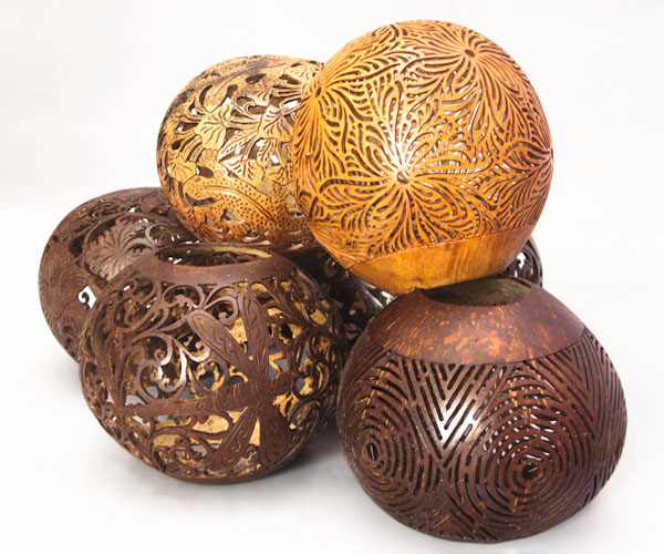Carved coconuts. Handicraft and arts from Bali