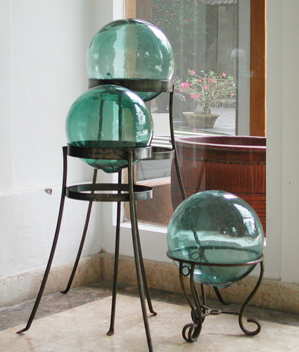 glass ball on iron stand from Bali