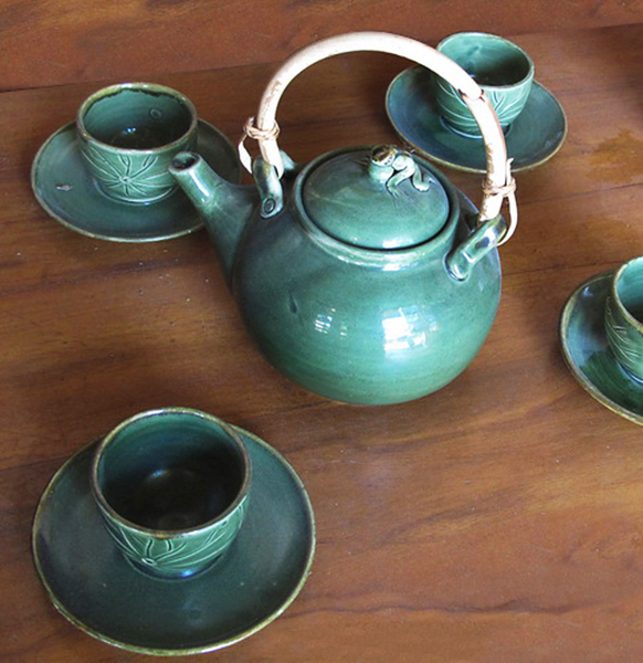 Ceramic Tea set cups and pot from Bali