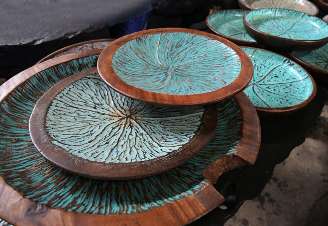 Primitive round plates. Art and decoration from Indonesia