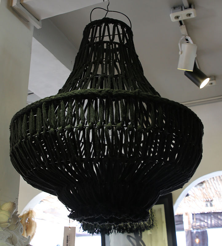 Black suspension with iron frame lamp