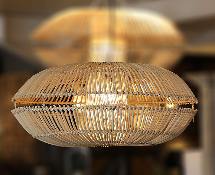 double cup rattan lampshade