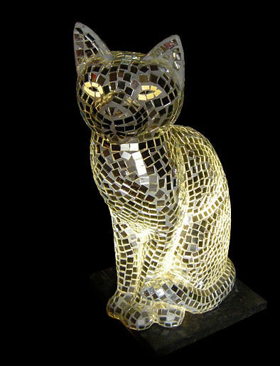 mosaic glass lamp in the shape of a cat