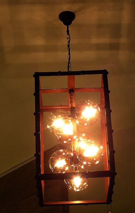 rectangular ceiling lamp made from iron and glass