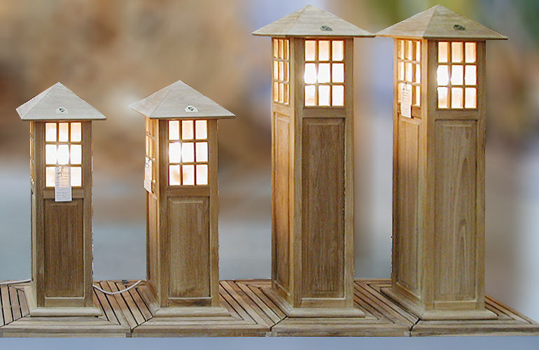 teak wood garden lighting lamp