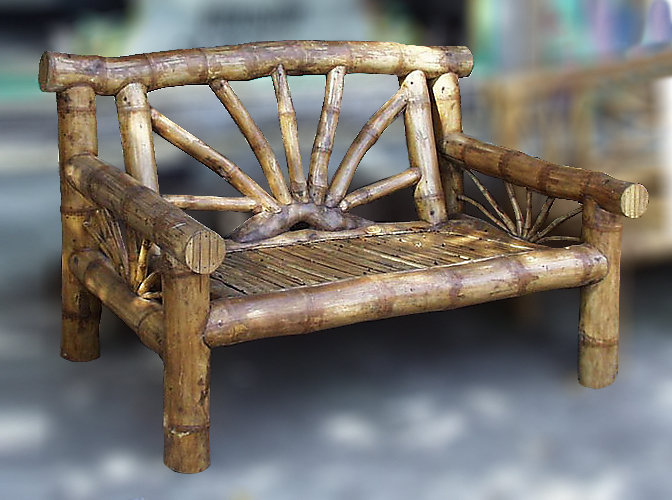 Big bamboo primitive bench from Bali