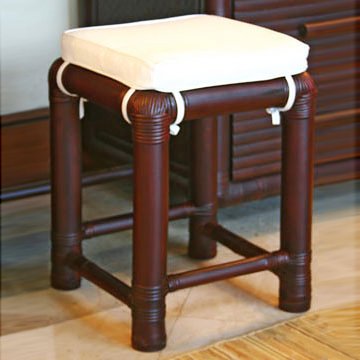 Big painted bamboo stool with cotton cushion