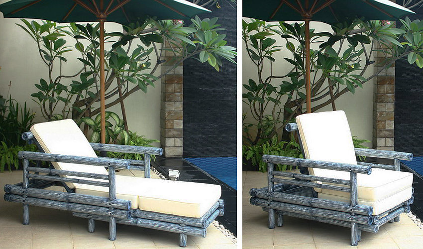 painted bamboo extensible arm chair with sumbrella mattress from bali