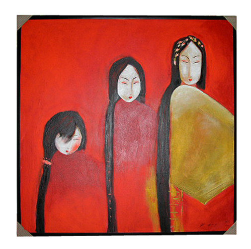 Painting of 3 chinese women with long hair from Bali