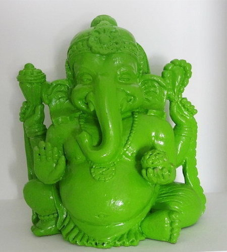 Resin Statue Ganesh sitting in green