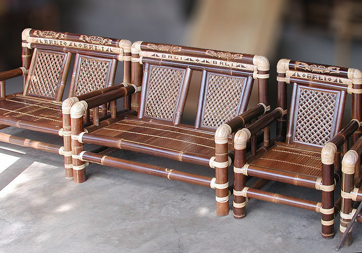 Set brown bamboo sofa and arm chair from bali