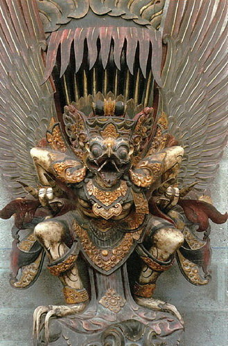 Suar Wood Carved and Painted Garuda from Bali