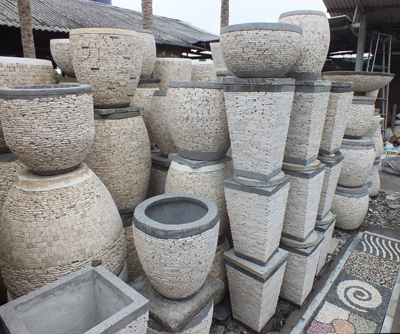 Cement Marmer Peeble garden pot