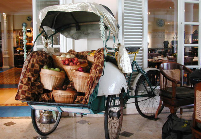 Original javanese becak used for decoration hotel phoenix jogjakarta