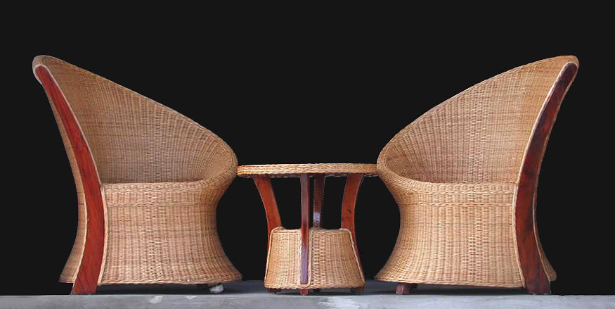 Mahogany and woven rattan set deisgn armchair with coffee table handmade furniture from Bali