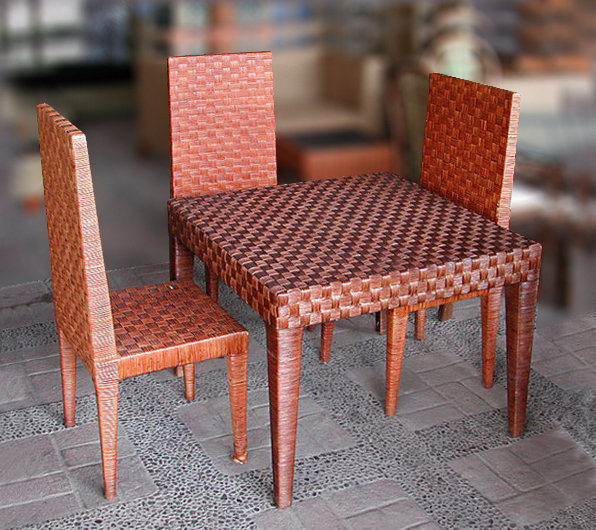Mahogany and woven rattan set dining chair and table made in Bali. Bayutrading