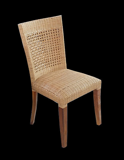 Mahogany and woven rattan chair with foam padded seat