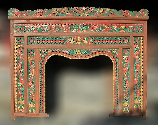 Painted wall decoration from old javanese teak wood canopy bed interior decor