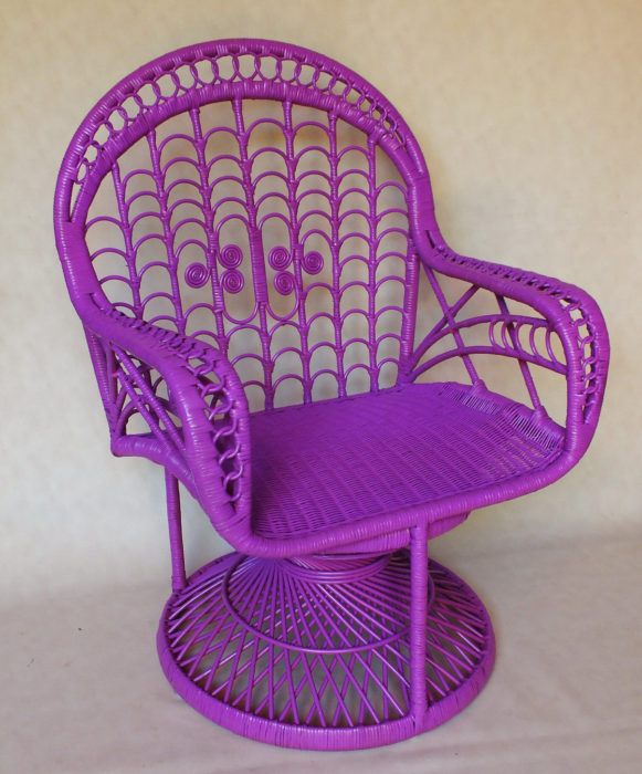 Purple woven rattan floral design armchair handmade furniture from Bali