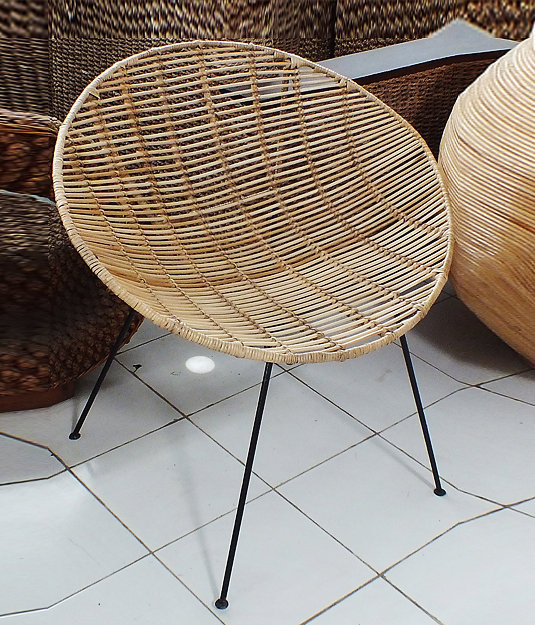 Rattan with iron frame round lounge chair handmade furniture from Bali