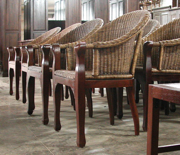 Teak and rattan colonial dining arm chair. Hand made furniture from Bali