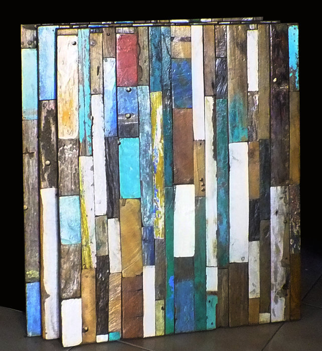 Wall decoration composed of old boat wood. Reclaimed wood