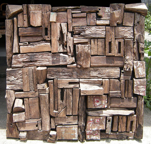 Wall decoration composed of old Teak Pieces