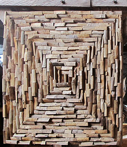 Wall decoration composed of small natural teak