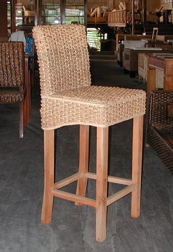 Water lilyleaf woven and mahogany wood bar stool