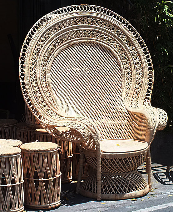 Large Emmanuelle lounche armchair made from woven ratten