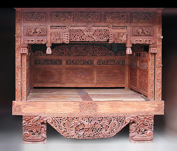 old carved chinese teak canopy bed antique style decoration bayu trading international