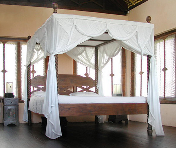 teak canopy bed with mosquito net colonial style decoration