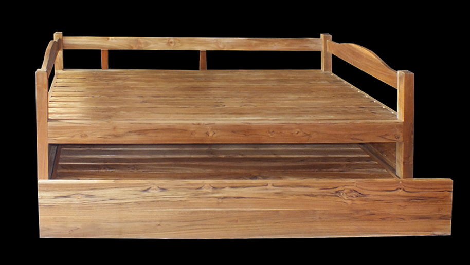 convertible teak bed with natural finish modern funriture bayu trading international bali
