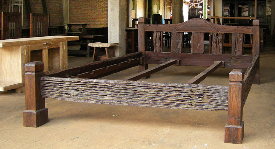 primitive teak bed rustic antique finish with cotton mattress and cushion. colonial furniture style