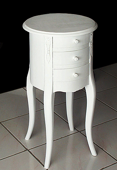 round white mahogany bedside table with drawers. Colonial style furniture from Indonesia Bayu Trading