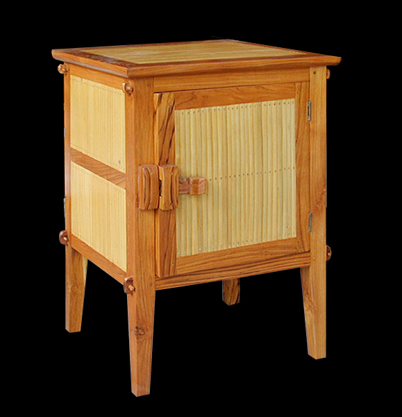 teak and bamboo bedside table with door natural finish colonial decoration style