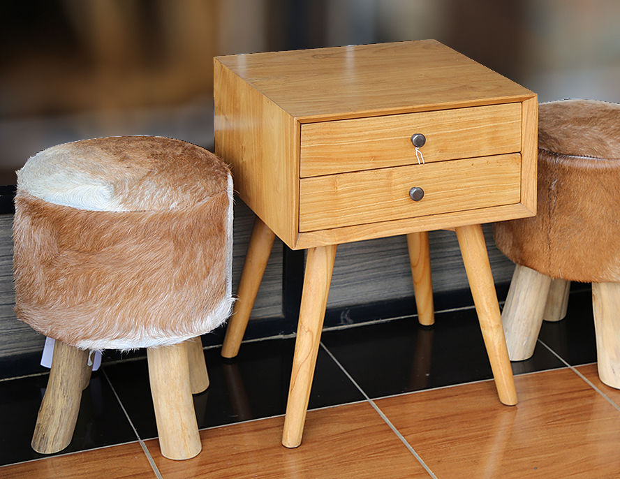 teak night stand honey color with drawer and leather goat puff