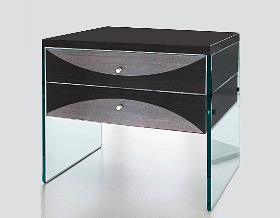 Wooden bedside table painte black and gray with drawers glass legs modern decoration style bayu int trading