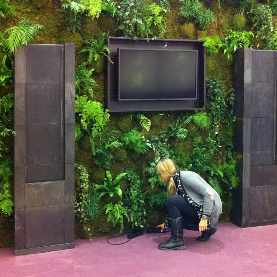 Green nature wall display with fountains and a television