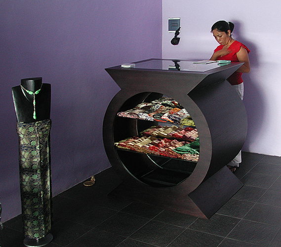 Creative cash register with clothing display