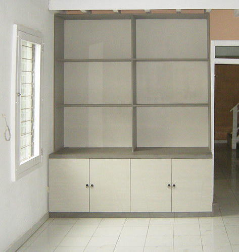 Jewelry cabinet for a bijou shop made from teak