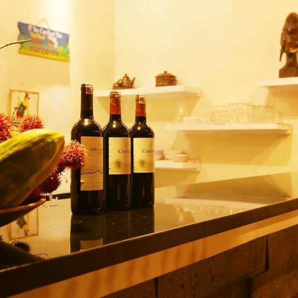 Bar surface with wine and fruit